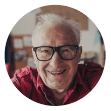 Elderly Man With Think Rimmed Glasses