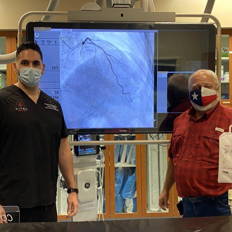 Dr. Khaled Khalaf treating patient with chest pains